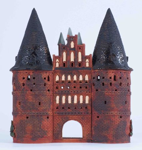 Ceramic Tealight Candle Holder | Room Decoration | Collectible miniature of Holstentor Gate in Lubeck, Germany | C317N © Midene
