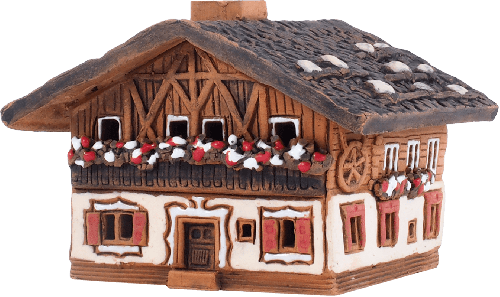 Ceramic Cone Incense Holder | Room Decoration | Collectible miniature of the original Wooden House in the Alps, Germany | R281 © Midene