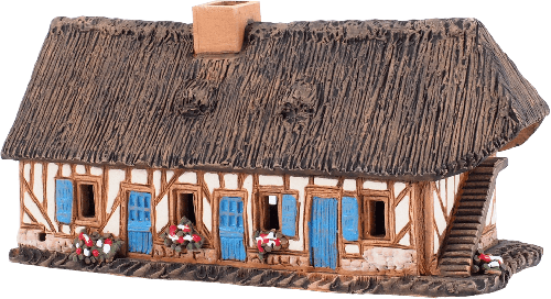 Ceramic Cone Incense Holder | Room Decoration | Collectible miniature of the original Old Timbered House in Normandy, France | R295 © Midene