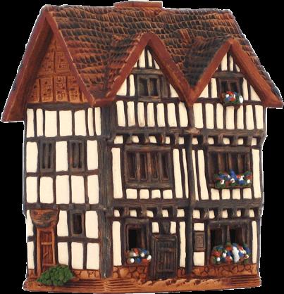 Ceramic Cone Incense Holder | Room Decoration | Collectible miniature of the original Nash's Hause in Stradford-upon-Avon, GB | R305 © Midene