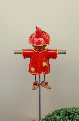 Ceramic garden decoration - Red Scarecrow