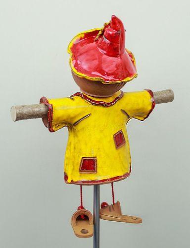 Ceramic garden decoration - Yellow Scarecrow