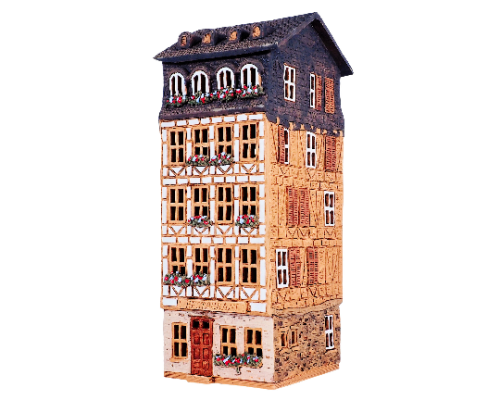 Ceramic Tealight Candle Holder | Room Decoration | Collectible miniature of Old Houses in Franfurt Romerplatz, Germany | S5-3 © Midene| Height 27 cm