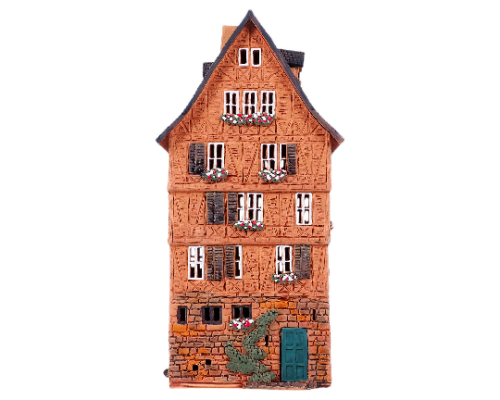 Ceramic Tealight Candle Holder | Room Decoration | Collectible miniature of Old Houses in Franfurt Romerplatz, Germany | S5-4 © Midene| Height 29 cm