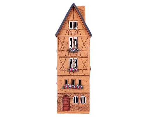 Ceramic Tealight Candle Holder   Room Decoration   Collectible miniature of Old Houses in Franfurt Romerplatz, Germany   S5-5 © Midene  Height 25 cm