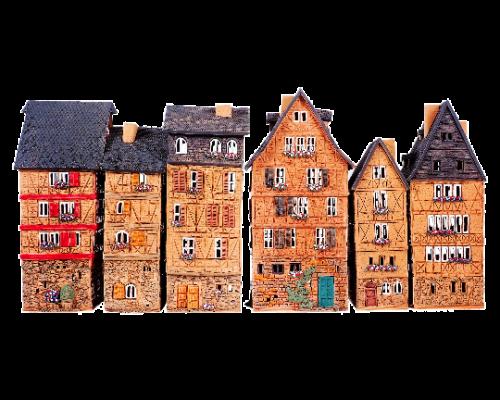 Ceramic Tealight Candle Holder | Room Decoration | Collectible miniature of Old Houses in Franfurt Romerplatz, Germany | S5\1-6Set. © Midene
