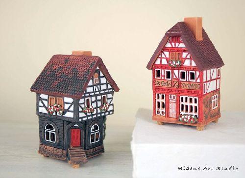 Midene Handmade Ceramic Miniatures Houses in Lauterbach S19-4+S19-6