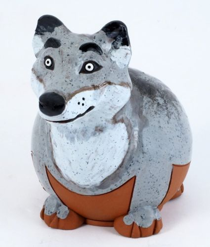 Wolf Handmade Ceramic  garden stake decoration